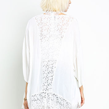 Lace Detail Open Cardigan