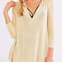 Beige V-neck Long Sleeve Knit Hooded Jumper