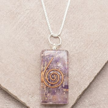 Amethyst Orgone Necklace - 24 inch Silver Chain