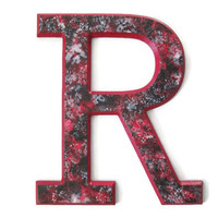 "Decorative Letter R collegiate style in crimson red, black and silver, 12"" wooden wall letter, ready to ship dorm decor"