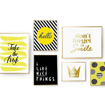 SET of 6 Prints, Scandinavian Dots, Positive Quote, Home Decor, Yellow Set Posters, Don't Forget to Smile, Hello Print, Gold Foil Print