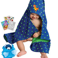 "Dinosaur Hooded Bath Towel 23x31"" Age 0-2T with Mini Animal Loufa & Coloring Book"