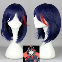 40cm Kill la Kill Matoi Ryuko Dark blue mix short cosplay wig