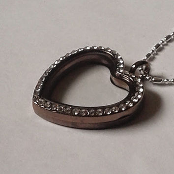 30 mm Heart Shaped Chocolate Floating Locket with Rhinestones and a silver bamboo ball chain