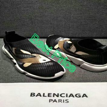 2018 Buy Balenciaga Speed Knit Trainers Black With Fish Logo Authentic shoe