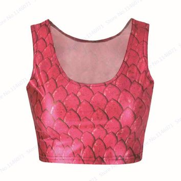 Running Vests Jogging Red Mermaid Scales Sports Dance Bustier Cropped Tops Green Fish Scales  Tank Tops Feminino Sleeveless Blouse Crop KO_11_1