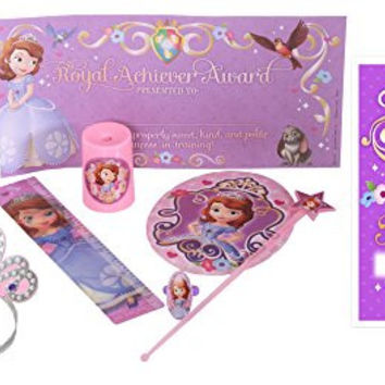 Sofia the First Party Supplies Pack Including Amulet for Birthday Girl, Crowns, Favor Pack and Treat Bags for 8 Guests