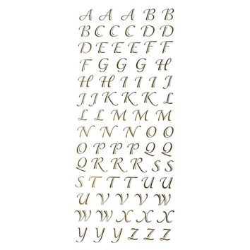 Gold Script Alphabet Letter Fancy Foil Stickers, 1/2-Inch, 78-Count