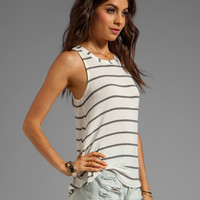 Splendid Brooklyn Striped Drapey Lux Tank in Bone