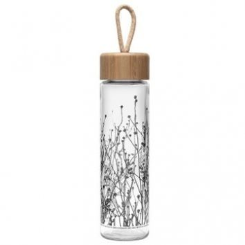 Ello Thrive BPA-Free Glass Water Bottle with Bamboo Lid, Etch Freesia, 20 oz.