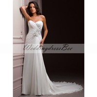 A-line Floor-length Chiffon bridal gown