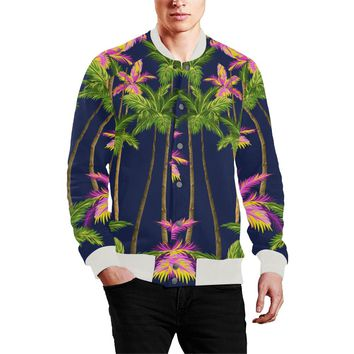 Men's Baseball Jacket Green Tropical Trees