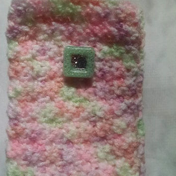 Variegated Pink Crochet Cell Phone Case with Mint Green Resin Easy Closure Matching Card Holder Available Android 5 1/2 inches x 3 inches