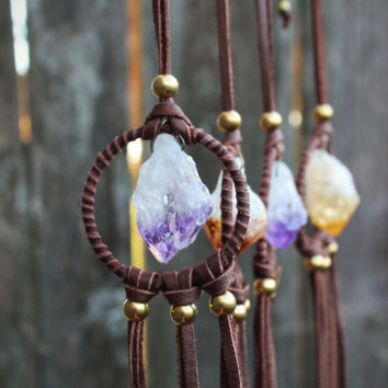 Stone Dream Catcher, Amethyst Leather Necklace, Raw Citrine Quartz Necklace, Healing Crystals, Native American,Sacral Chakra Stone Necklace