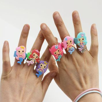 Cute Cartoon Mermaid Ring For Girls Kids Promotional Gifts Unicorn Children Finger Toy Silicone Rings Soft PVC Red Pink Blue