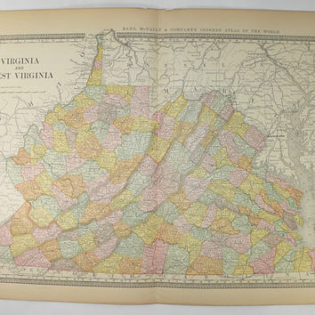 Old 1881 Rand McNally Virginia Map West Virginia, Vintage Map of Virginia, Gift for Couple, 1st Anniversary Gift, Man Cave Decor Guy Gift