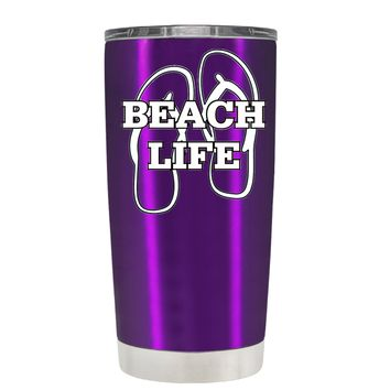 The Beach Life Sandals on Violet 20 oz Tumbler Cup
