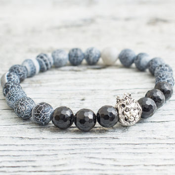 Crackled black agate and black faceted onyx stone beaded 925 sterling silver Lion with crown bracelet, Mens bracelet, Womens bracelet