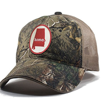 Homeland Tees Men's Alabama Home State Realtree Camo Trucker Hat - Red