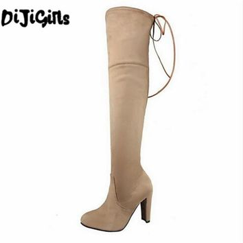 2018 Women Snow Boots Sexy Suede Stretch Slim Over The Knee High Boots Girls Winter Thigh High Boot Shoes Woman Botas Mujer Gift