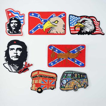 Che Guevara Eagle Flag Bus Iron On Patches Sewing Embroidered Applique for Jacket Clothes Stickers Badge DIY Apparel Accessories