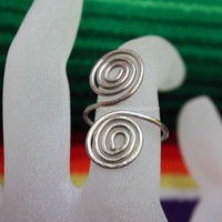 Silver Spiral Ring - Hand Formed Ring - Any Size Ring - Native American Inspired - Gift For Her - Adjustable Ring - German Silver