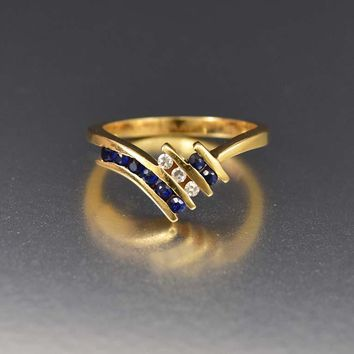 Vintage 14K Gold Diamond and Sapphire Wishbone Ring