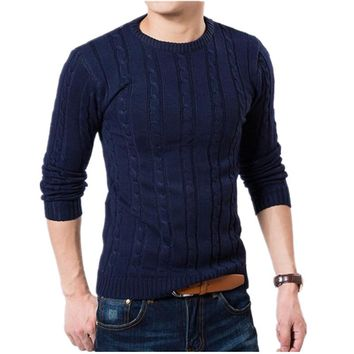 Men Sweater High Quality Pullover Men Fashion Round Collar Winter Sweater Mens Brand Slim Fit Fashion Knitted Sweater Coat