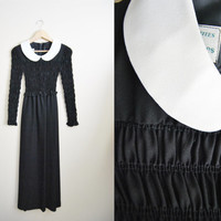 Romantic Gothic - Vintage 70s Black White Peterpan Collar Doll Maxi Dress Gothic
