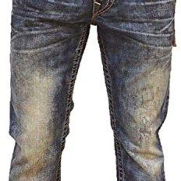 True Religion Mens Jeans Straight with Flaps Brown Gold Big T in Hard Belly (42)
