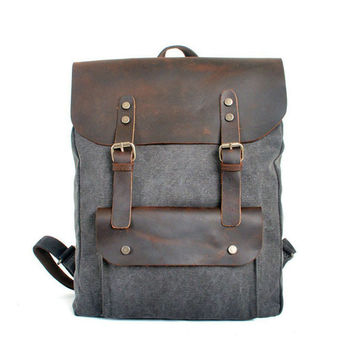 Canvas & Leather Backback