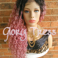 READY To SHIP // Long Kinky Curly Lace Front Wig, Ombre Pink Wig, Beach Curls//GIVE ( Free Shipping )