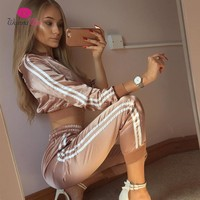 WannaThis 2017 Autumn Winter Satin Sets Women Zipper Side Stripe Crop Tops Drawstring Calf Length Pants Sexy Workout Tracksuits