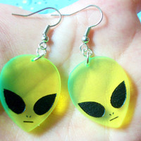 Pair Of Rad Alien Acrylic Charm Earrings, 90's Alien Earrings