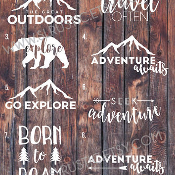 adventure decal, travel decal, explore decal, outdoors decal, yeti cooler decal, laptop decal, car decal.