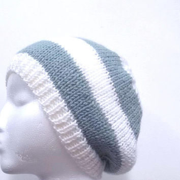 Knitted Beanie Hat  blue and white stripes, handmade 4709