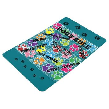 Dogs Rule Colorful Paw Prints Floor Mat