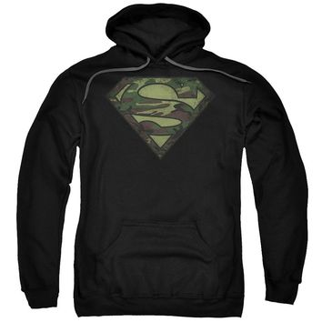 Superman - Camo Logo Distressed Adult Pull Over Hoodie