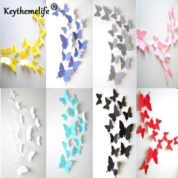 Keythemelife 8 Color 12pcs/lot Butterfly Wall Stickers 3D Butterflies Bedroom Living Room Home Fridage Decor Wallpaper 2C