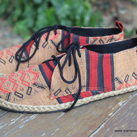 Vegan Mens Shoes Lace Up Oxfords In Tribal Naga Textiles