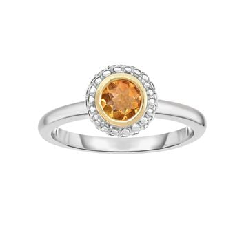18k Gold And Sterling Silver Citrine Fancy Ring