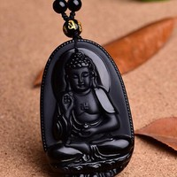 Black Obsidian Buddha Necklaces