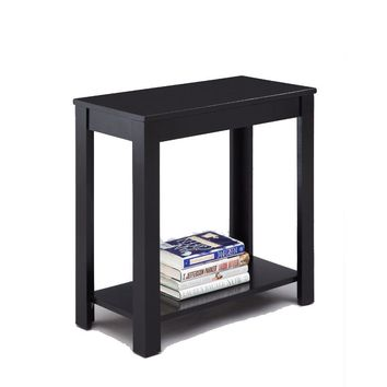 Minimalistic  designed Wooden Chairside Table, Black By Crown Mark