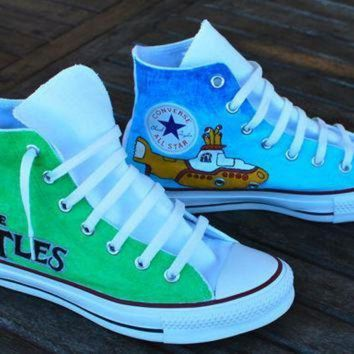 DCCK1IN hand painted beatles converse chuck taylor all star hi tops