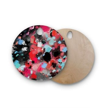 """Rosa Picnic """"Abs-7"""" Black Blue Abstract Contemporary Painting Watercolor Round Wooden Cutting Board"""