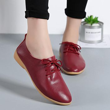 Real Leather Spring Summer Loafers Women Casual Shoes Moccasins Soft Pointed Toe Ladies Footwear Women Flats Shoes Female DC01