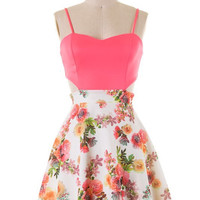 Floral Dress with Side Cut Outs - Neon Pink