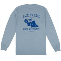 Back to Back World War Champs -Eagle Edition- Long Sleeve Pocket Tee in Citadel Blue by Rowdy Gentleman