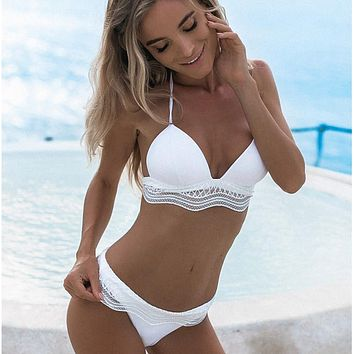 Halter Lace Up Beach Fashion Bikini Set Swimsuit Swimwear