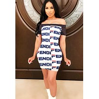 Fendi Fashion New More Letter Print Contrast Color Leisure Personality Strapless Shorts Sleeve Dress Women White